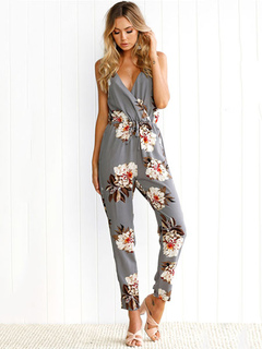 Women's Grey Jumpsuit In Floral Print With V Neck Cross Back For Women