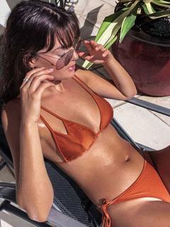 Orange Bikini Set Double Strap Side Tie Bathing Suits Women's Sexy Beach Swimsuit