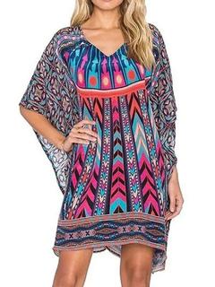 Women's Summer Dress Boho V Neck 3/4 Length Sleeve Printed Shift Dress