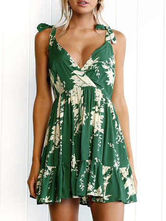 Green Short Dress Boho Strappy V Neck Sleeveless Lace Up Printed Summer Dress
