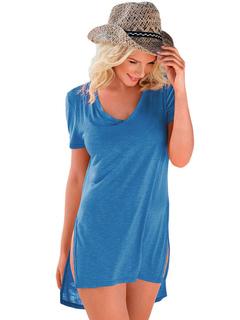 Blue T Shirt Dress Women's V Neck Short Sleeve High Low Short Dress