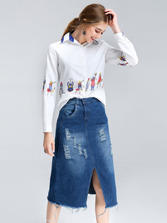 Women's Skirt Set Cartoon Print Spread Collar White Shirt Top With Ragged Hem Ripped Slit Denim Skirt