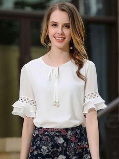Women's White Blouse Round Neck Half Sleeve Lace Up Casual Top