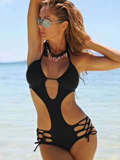 Sexy One Piece Swimsuit Black Halter Sleeveless Cut Out Monokini Swimwear