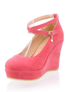 Zapatos de cuña de cuero con apariencia suave de color sandía con diseño hueco CiiMa0fiz