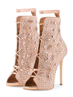 Sandali stivali sandali champagni fuori tacco a fino 12cm a punta aperta  strass satin db0f131ef19