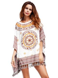 Boho Shift Dress Oversized Ethnic Print Hafl Batwing Sleeve Fringes White Short Dress