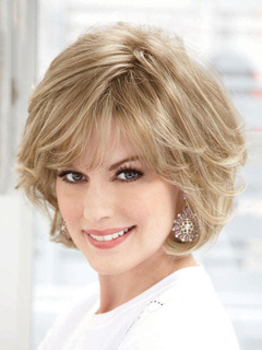 Human Hair Wigs Women's Light Apricot Curly Short Hair Wigs