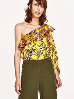 Yellow Bodysuit Top One Shoulder Ruffles Floral Print Backless Sexy Bodysuit
