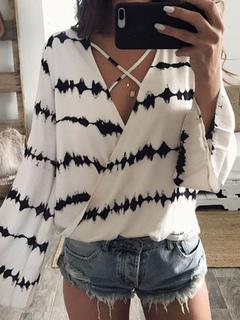 Chiffon White Blouses Women's Long Sleeve V Neck Summer Tops