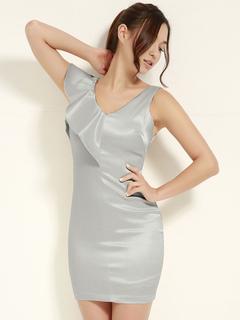 Silver Party Dress V Neck Ruffle Sleeveless Women Mini Dress Party