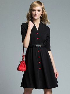Black Party Dress V Neck Half Sleeve Buttons Women's Skirt Dresses With Sash