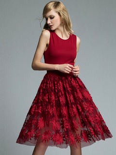 Red Party Dress Sleeveless Round Neck Embroidered A Line Tu Tu Dresses For Women