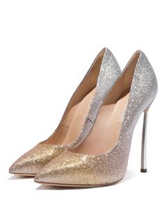 b88ad8c9d8f3be Elegante Sequin Abendschuhe Gold Spitz Zehe Slip Auf High Heels Pumps mit  Stilettos