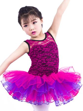 e819356252c45 Costumes de robe de ballet Costume de ballerine à volants en laine Fuchsia  pour enfants