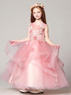 Flower Girl Dresses Ball Gown Organza Floor Length Applique Soft Pink Kids  Pageant Dresses d483da324c51