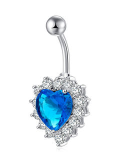 Belly On Ring Ocean Blue Rhinestone Heart Shaped Navel Piercing Jewelry