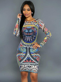 Women Bodycon Dress Long Sleeve Exotic Print Going Out Pencil Dress