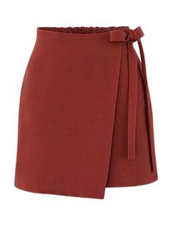 Burgundy Short Skirt Asymmetrical Side Tie Women's Summer Skirts
