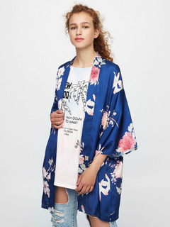 Blue Kimono Top Floral Print 3/4 Length Bell Sleeve Women's Open Front Top