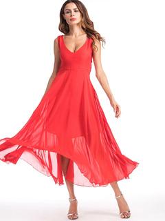 Women Red Dress Chiffon Sleeveless Pleated Back Tie Summer Dresses With Belt