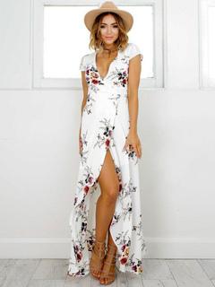Women Maxi Dress Floral Dress V Neck Short Sleeve Split Wrap Dress