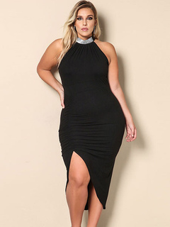 5c09a23237b9d Plus Size Dress Black Halter High Low Ruched Women s Summer Dresses