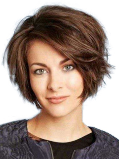 Short Synthetic Wig Women's Side Parting Tousled Layered Wavy Bouncy Brown Wigs