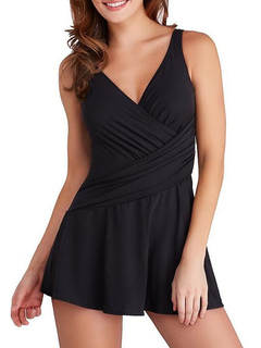 Black Bathing Suits V Neck Women's One Piece Sleeveless Beach Swimsuit