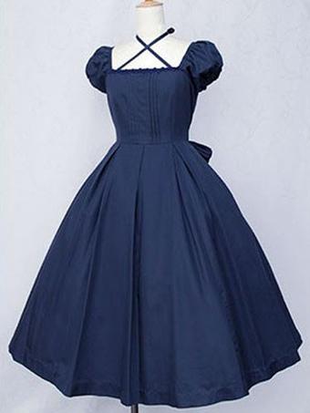 b825fc7e31a5 Dark Navy Lolita Dress OP Classic Short Sleeve Cotton Lolita One Piece Dress