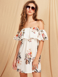 Chiffon Shift Dress Off The She Shoulder Short Sleeve Floral Printed Short Dress