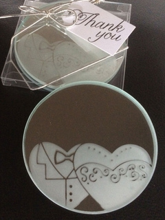 Silver Cup Mat Printed Matte Glass 2 Pieces Wedding Favor
