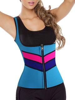 Women' Body Shapewear Blue Color Block Waist Cincher Training