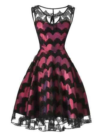 Burgundy Skater Dress Lace Patch Cotton Round Neck Semi Sheer Wavy Striped Pleated Flare Dress