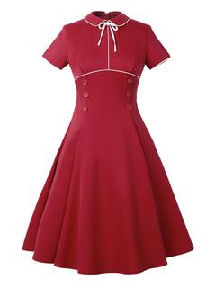 Red Vintage Dress Turndown Collar Short Sleeve Slim Fit Pleated Skater Dress