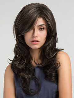Long Hair Wigs Deep Brown Side Parting Curly Synthetic Wigs For Women
