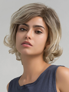 Human Hair Wigs Deep Apricot Side Parting Curly Hair Wigs For Women