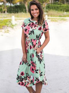 Floral Print Dresses Women's Avocado Green Short Sleeve Long Summer Dress