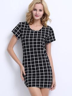 Black Mini Dress Round Neck Short Sleeve Plaid Short Dress For Women