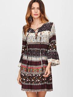 Brown Boho Dress Oversized Print V Neck 3/4 Length Flare Sleeve Lace Up Short Summer Dress