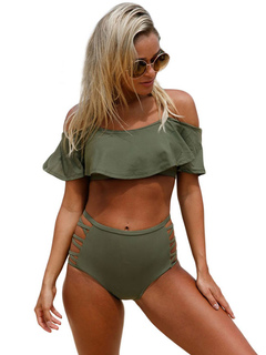 Olive Bathing Suits Off The Shoulder Strappy Ruffled Two Piece Swimsuit For Women