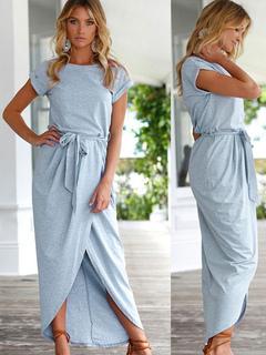 Women Maxi Dress Blue Wrap Dress Short Sleeve High Low Long Dress