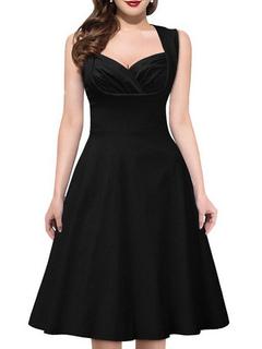 Women Vintage Dress Black Swing Dress Sweetheart Sleeveless Retro Dress