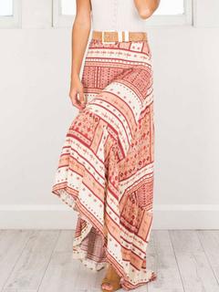 Boho Maxi Skirt Floral Print High Low Ruffles Blush Pink Casual Long Beach Skirt