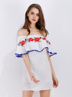 White Summer Dress Off The Shoulder Half Sleeve Floral Embroidered Short Dress