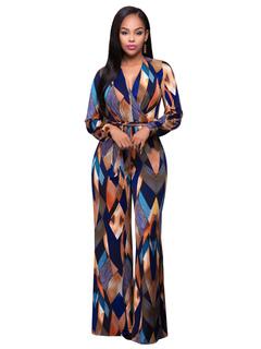 Women's Blue Jumpsuit V Neck Long Sleeve Geometric Printed Lace Up Jumpsuit