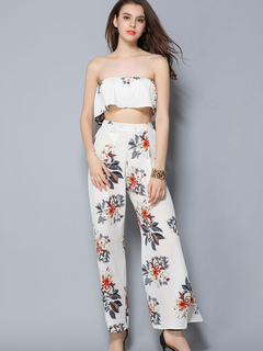 White Boho Set Floral Print Strapless Ruffles Crop Top With High Slit Wide Leg Pants