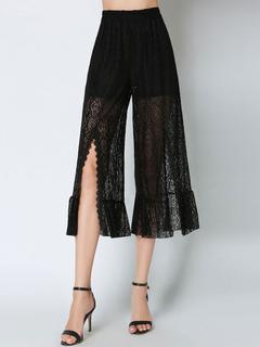 Wide Leg Pants Lace High Waisted Ruffles Slit Semi Sheer Women's Black Cropped Pants