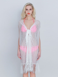 Women's Beach Coverups Plunging Neckline Fringes Sheer Acrylic Beachwear