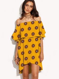Boho Short Dress Off The Shoulder Ruffled Women's Summer Dresses